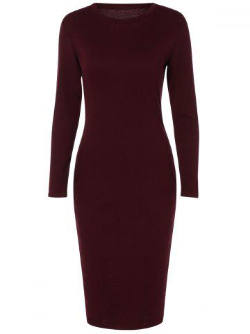 Affordable Back Slit Tight Fitted Long Sleeve Dress WINE RED XL