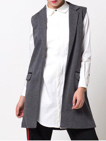 One-Button Fitting Waistcoat - Gray - S
