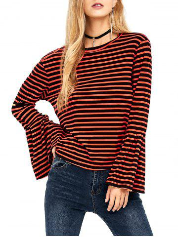 Crew Neck Stripe Bell Sleeve Tee - Orange - Xl
