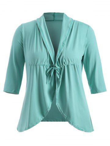Unique Slimming Drawstring Asymmetric Jacket LIGHT GREEN 5XL