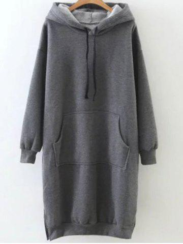 Online Fleece Front Pocket Long Hoodie