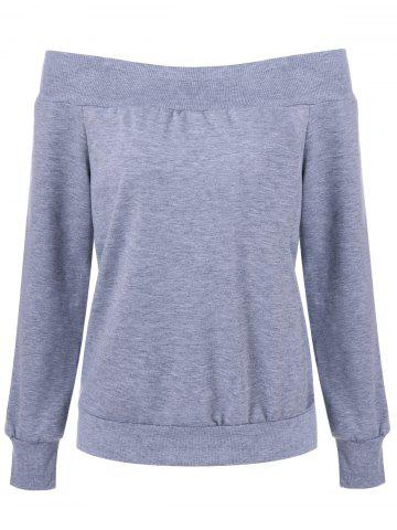 Off The Shoulder Pullover Sweatshirt - GRAY L