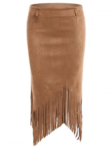 Affordable Tassel Edge Faux Suede Asymmetric Pencil Skirt