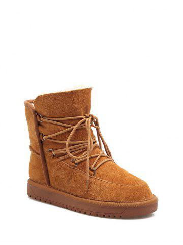 Buy Flat Heel Suede Tie Up Snow Boots