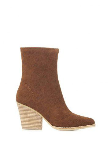 Chic Zipper Chunky Heel Pointed Toe Short Boots