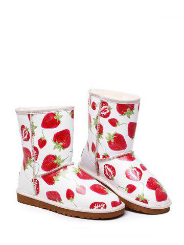 Outfit Stitching Strawberry Printed Colour Spliced Snow Boots