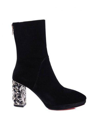 Shops Velvet Pointed Toe Chunky Heel Sock Boots