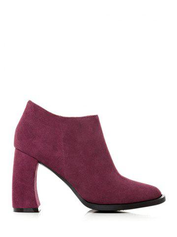 Buy Concise Chunky Heel Suede Ankle Boots