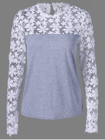 Lace Insert Sheer Slim Fit T-Shirt - Gray - M