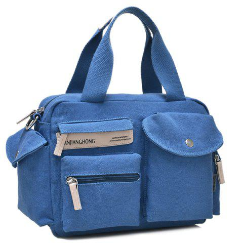 Outfits Colour Spliced Pockets Canvas Tote Bag