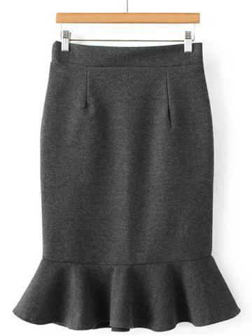 Shops High Waisted Wool Blend Mermaid Skirt GRAY ONE SIZE