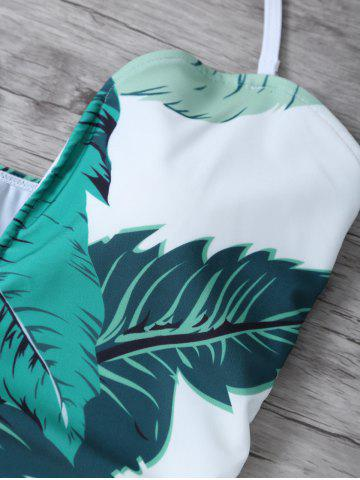 Best Printed Halter One Piece Swimsuit - M WHITE AND GREEN Mobile