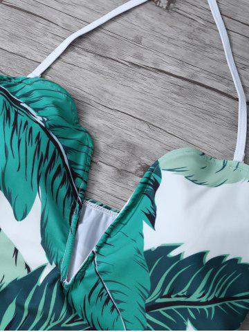 Outfits Printed Halter One Piece Swimsuit - M WHITE AND GREEN Mobile