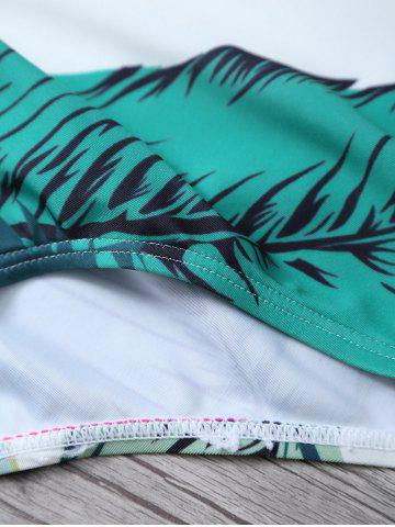 Discount Printed Halter One Piece Swimsuit - S WHITE AND GREEN Mobile
