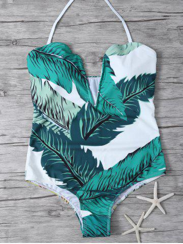Latest Printed Halter One Piece Swimsuit - S WHITE AND GREEN Mobile