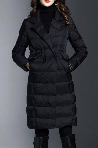 Fancy Lapel Knee Length Long Down Coat