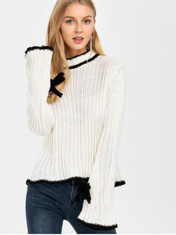 Cheap Stand Neck Bell Sleeve Sweater