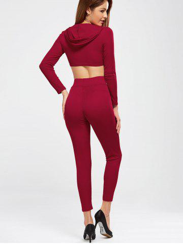 Shops Plain Hooded Crop Top and Ninth Pants - XL BURGUNDY Mobile