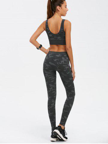 Cheap Sporty Bra with Camo Running Leggings Pants - M CAMOUFLAGE Mobile