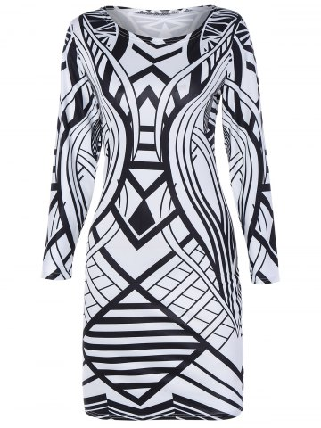 Unique Geometric Pattern Long Sleeve Bodycon Dress WHITE AND BLACK 2XL