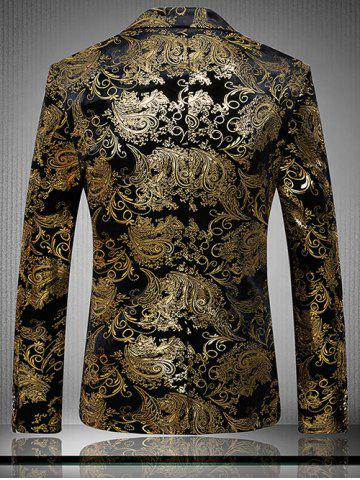 Chic Golden Flower Print Lapel Long Sleeve Blazer For Men - L GOLDEN Mobile