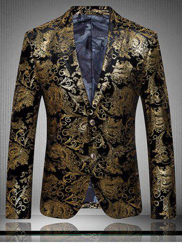 Unique Golden Flower Print Lapel Long Sleeve Blazer For Men