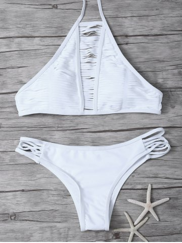 High Neck Halter Strappy Bikini - White - S