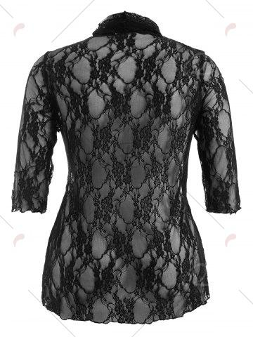 New Plus Size Drawstring Asymmetric Lace Jacket - 5XL BLACK Mobile