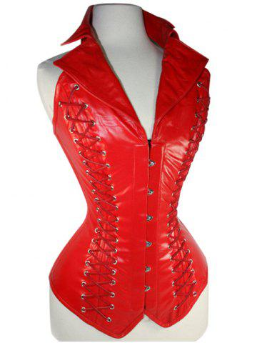 Fashion Lace-Up Leather Corset RED 2XL