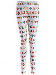 Skinny Christmas Holiday Leggings - WHITE L