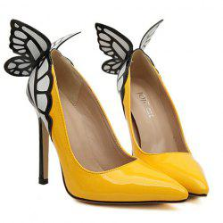 Gorgeous Butterfly and Point Toe Design Women's Pumps - YELLOW