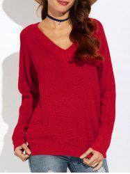 Ribbed V Neck Pullover Sweater