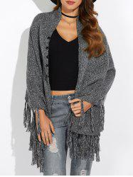 Asymmetrical Fringed Cardigan
