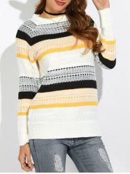 Textured Raglan Sleeve Striped Sweater