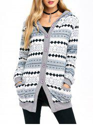 Active Christmas Snowflake Knit Hoodie -