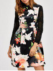 Lace Insert Floral Long Sleeve Dress -