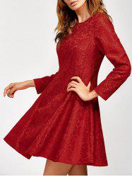 Lace Insert Fit and Flare Dress -
