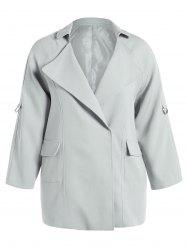 Plus Size Coat Pocket Conception Plaine - Gris Clair