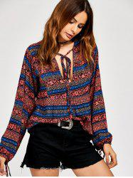 Lace Up Ethnic Print Boho Blouse