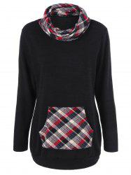 Elbow Patch Plaid Trim Sweatshirt - CHECKED