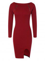 Zipper Embellished Stretchy Tight Dress -