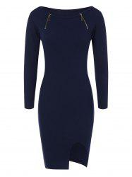 Zipper Embellished Stretchy Tight Dress - CADETBLUE
