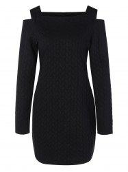 Long Sleeve Cut Out Shoulder Knurling Fitted Dress - BLACK XL