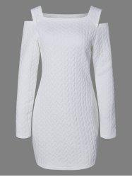 Long Sleeve Cold Shoulder Knurling Fitted Dress