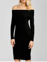 Off The Shoulder Long Sleeve Bodycon Dress -