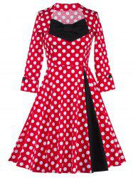 Bowknot Polka Dot Insert Swing Dress