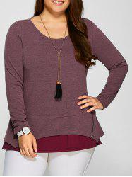 Plus Size Zipper Embellished Layered Pullover -