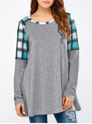 Plaid Trim Smock Tee