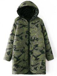 Hooded Camo Quilted Coat