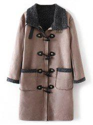 Faux Suede Fleece Trim Coat
